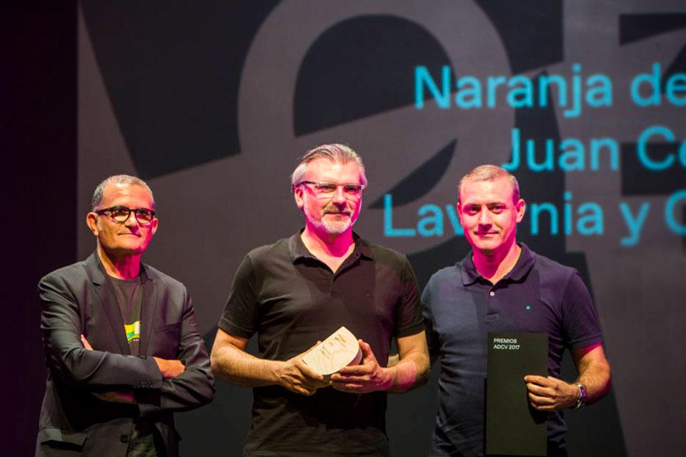 Juan Cervera y J. Enrique Sanz en los premios ADCV 2017